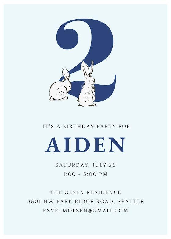 Aiden's 2nd Birthday - Birthday Card Template