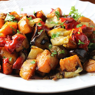 Roasted Sweet Potatoes, Peppers, Eggplant and Apples.
