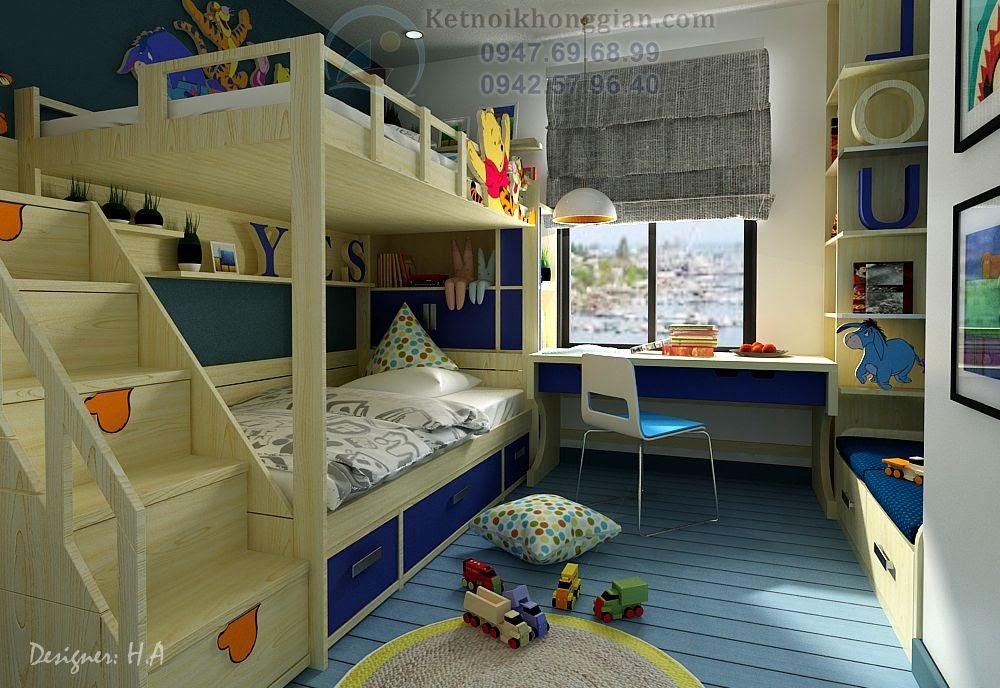 thiết kế nội thất phòng ngủ bé trai nam tính