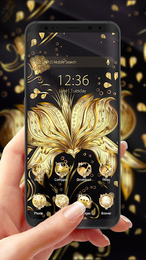 Golden Flower Theme & HD wallpapers - screenshot