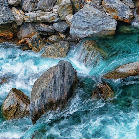 Clear river by Aram Becker - Landscapes Waterscapes ( water, clear, stream, blue, flow, stones, rocks, river )