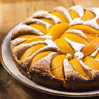 Moist Peach Cake with Custard Sauce.