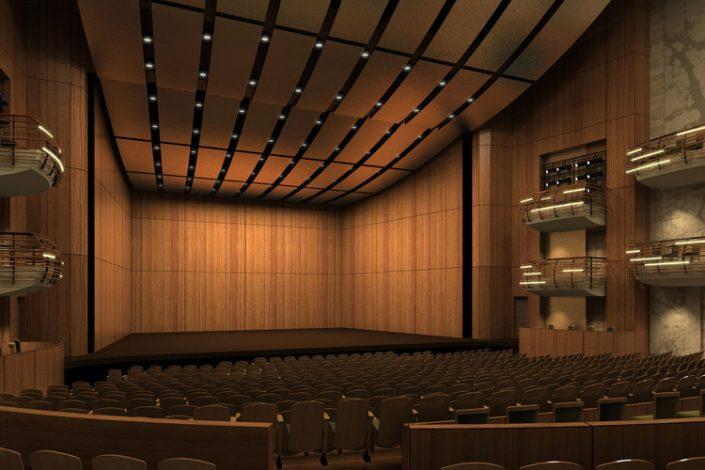 Trang trí hội trường bằng tấm tiêu âm ván gỗ