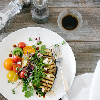 Eggplant Salad with Heirloom Tomatoes and Arugula
