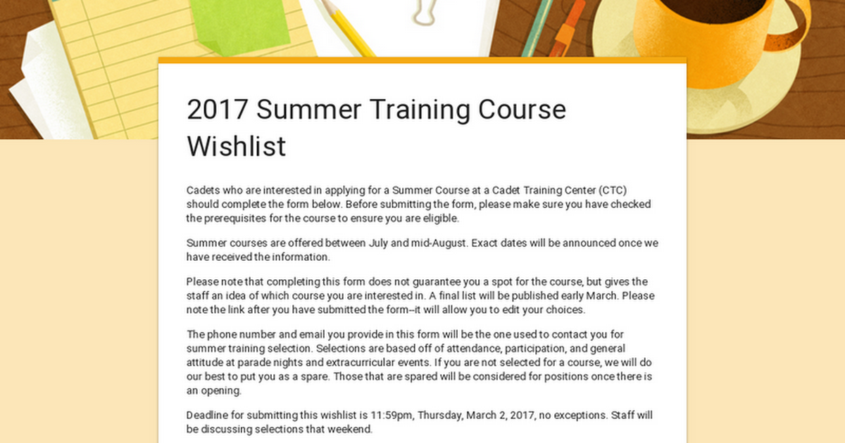 2017 Summer Training Course Wishlist