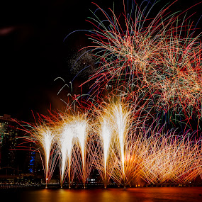 Fireworks by Jijo George - Abstract Fire & Fireworks ( anniversary, celebrations, jubilee, fireworks, golden, singapore )