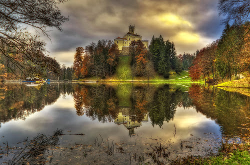 Castle Trakoscan, Croatia by Boris Frković - Landscapes Waterscapes ( water, trakoscan, reflection, autumn, fall, pwcreflections, lake, castle )
