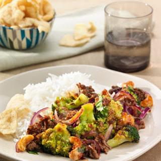 Rundergehakt met Thaise oester soja saus, rijst en broccoli