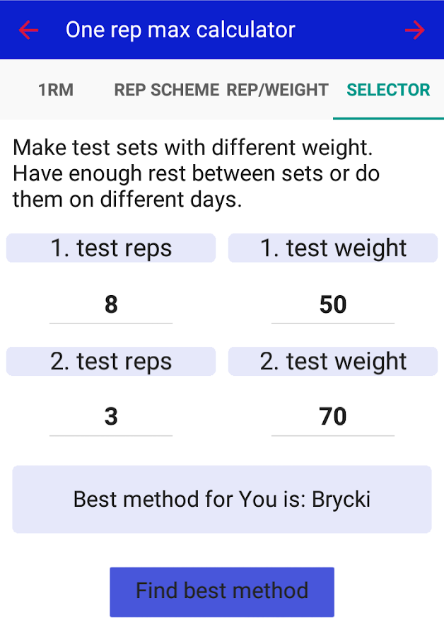 smart 1rm calculator android apps on google play
