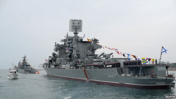 Корабли Черноморского флота во время парада Победы в Севастополе, 2014 год