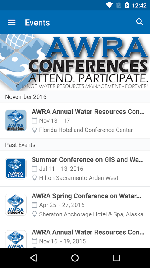 AWRA Conferences- screenshot