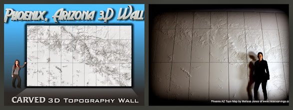 Photo: 3D Wall - Carved Topography of Phoenix, Arizona area. This map was installed at a local Phoenix law firm. I can carve any topography map like this one..larger or smaller, of any part of the world. Please inquire here about your map carving melissa@nicecarvings.com or (415) 944-7446 orhttp://www.nicecarvings.com/quote-form.html