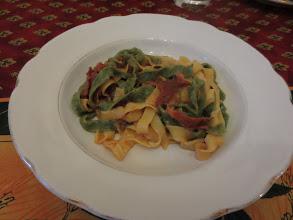 Photo: Tagliatelle with tomato and prosciutto sauce