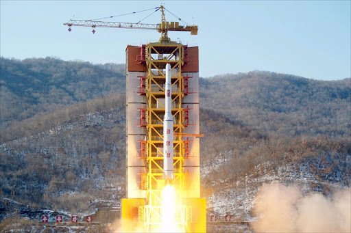 FILE PHOTO: A North Korean long-range rocket is launched into the air at the Sohae rocket launch site, North Korea, in this photo released by Kyodo February 7, 2016. North Korea launched a long-range rocket on Sunday carrying what it has called a satellite, but its neighbours and Washington denounced the launch as a missile test, conducted in defiance of U.N. sanctions and just weeks after a nuclear bomb test. Mandatory credit
