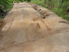Photo: Ko Phangan motobiking around - sandy/muddy road to Sadet waterfall/beach with many potholes, it's much worse than it looks at photo, I tryed to capture it, but it's difficult, some of the potholes like these were pretty deep (30-40cm)