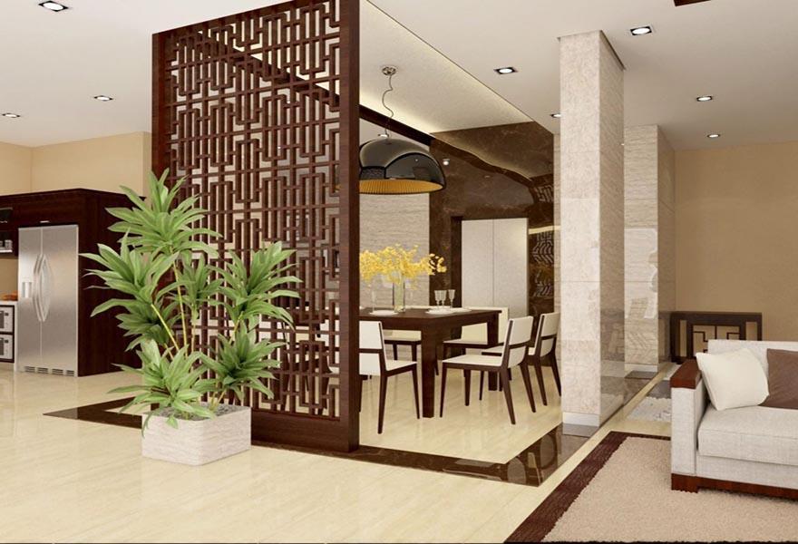 Vách ngăn gỗ tự nhiên để chia phòng khách và phòng bếp