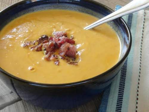 "Halloween Pumpkin Soup with Smoked Bacon ""I made this for a staff..."