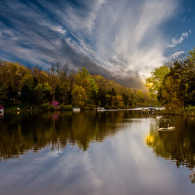 Beaver Lake by Eugene Linzy - Landscapes Waterscapes ( clouds, water, swans, boats, ducks, reflections, lake, sunrise, spring )