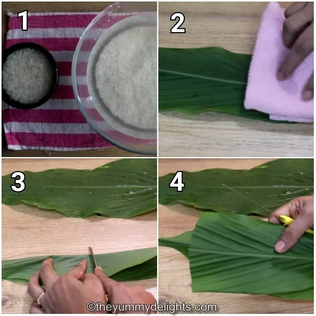 step by step image collage of soaking the rice and preparing the turmeric leaves to make Goan Patoleo