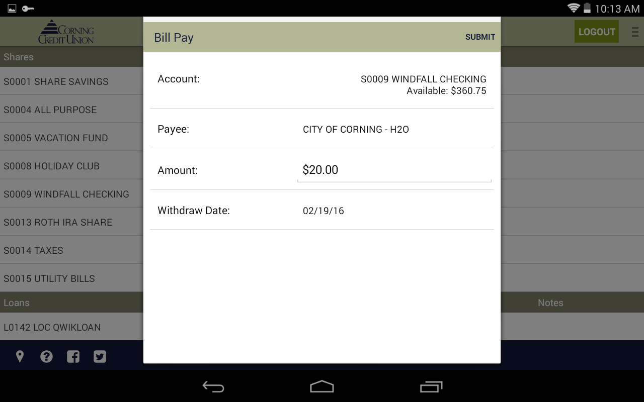 Corning Credit Union- screenshot