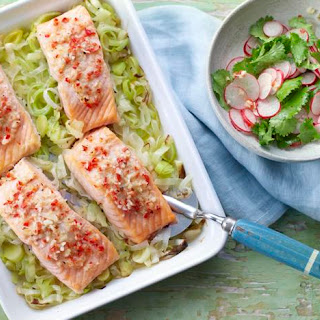 Salmon With Buttered Leeks And Yuzu Dressing.