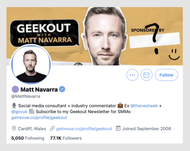 Matt Navarra is a Social Media consultant with a  healthy following on Twitter.