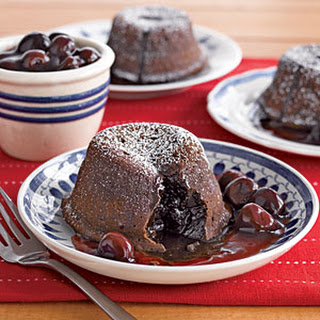 Molten Chocolate Cakes with Cherry Sauce.