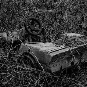 Resting Corvette  by Thurisaz Photography - Black & White Objects & Still Life ( outdoor, wheels, car, old, vintage, black and white, toy, object,  )