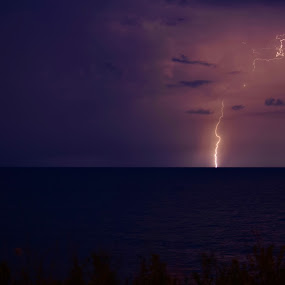 Lake Erie Lightning by Jay Hathaway - Landscapes Weather ( lightning, storm, weather, lake erie, night photography )