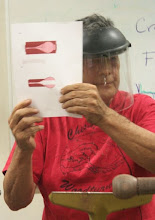 Photo: Clif provided a handout to show what he's doing with the quick and crude part of the hollowing using drill bits.
