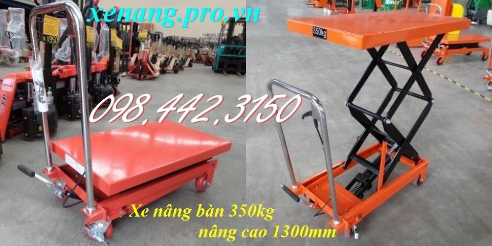 Xe nâng bàn 350kg nâng cao 1.3m