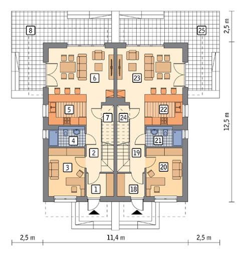 Światła miasta - wariant III (dwulokalowy) - M225c - Rzut parteru