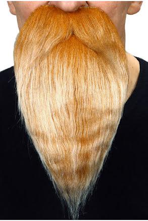 Långt skägg med mustasch, blond