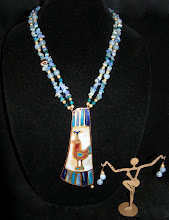Photo: <BEREHYNYA> {Great Goddess Protectress} unique one-of-a-kind statement jewellery by Luba Bilash ART & ADORNMENT  89 - PEACOCK OF THE NILE ~ ПAВА НІЛА - copper enamel pendant; light sapphire quartzite; jade aqua; Australian jasper; 14K vermeil $180/set SOLD/ПРОДАНИЙ