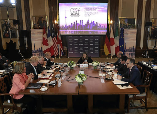 The foreign ministers of the Group of Seven countries and the European Union meet in Toronto, Canada, on April 22 2018. Picture: REUTERS