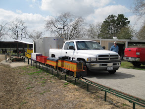 Photo: Richard Osborn's train with his truck and trailer.  Gary McCoy at right.