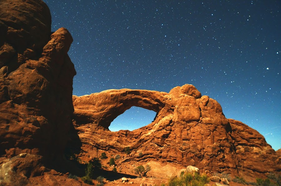 The Windows District, Arches National Park by My Photography - Landscapes Starscapes ( united, park, blue, stars, beautiful, states, rock, night, landscape, astronomy )