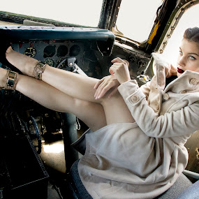 Me and the plane  by Hush Naidoo - People Portraits of Women ( model, plane, aircraft, young girl, beauty )