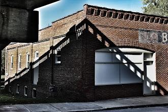 Photo: Shadow of the Isley Bridge - Bennett Garage  Excelsior Springs, Mo.