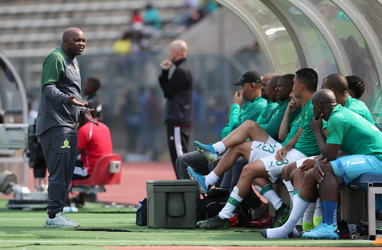 Pitso Mosimane reacts in his technical box during the Tshwane derby win over SuperSport Uinted on January 19 2020 in Atteridgeville.