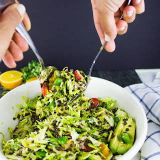 Citrus Lentil Salad with Shredded Brussels Sprouts.