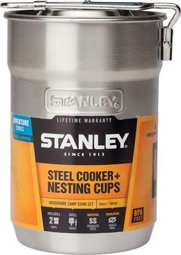 Stanley Camp Cookset: Stainless Steel, 3-piece, 24oz