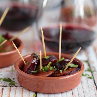 Red Wine Poached Chorizo with Balsamic Glaze.