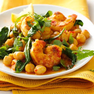 Gluten-Free Harissa Skillet Shrimp with Spinach and Chickpeas.