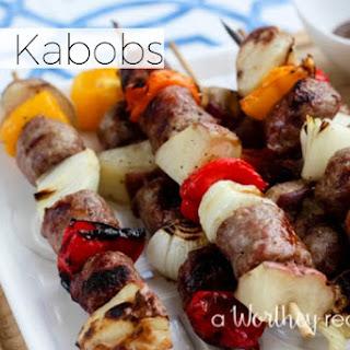 Easy Bratwurst Kabobs Recipe with Balsamic Mustard