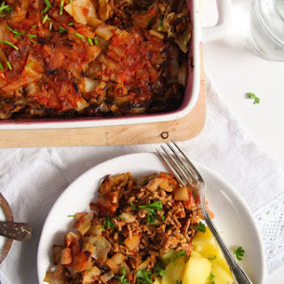 Stuffed Cabbage Casserole with Bacon and Ground Pork.
