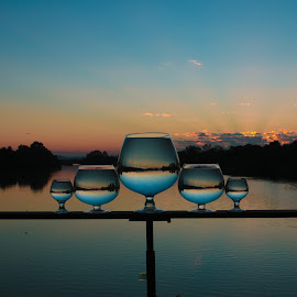 Pyramid  by Stefan Klein - Artistic Objects Still Life ( glasses, sunrise, reflections, river, water,  )