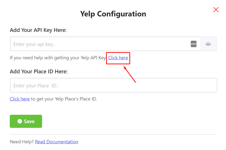 Yelp reviews API key
