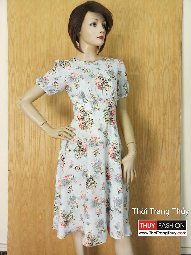 Váy xòe dài qua gối họa tiết hoa dáng công sở V632 hải phòng