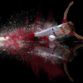 Safe by Todd Wallarab - Digital Art People ( softball, ball, slide, safe, tag, girl, win )